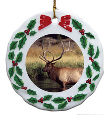 Elk Porcelain Holly Wreath Christmas Ornament