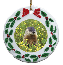 Groundhog Porcelain Holly Wreath Christmas Ornament