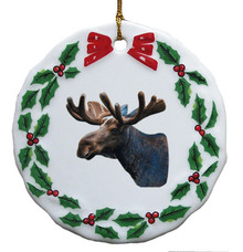 Moose Porcelain Holly Wreath Christmas Ornament