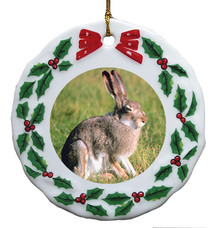 Rabbit Porcelain Holly Wreath Christmas Ornament