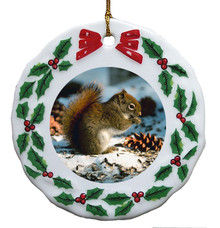 Squirrel Porcelain Holly Wreath Christmas Ornament