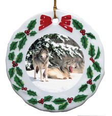 Wolf Porcelain Holly Wreath Christmas Ornament