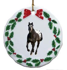 Appaloosa Porcelain Holly Wreath Christmas Ornament