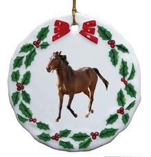 Arabian Porcelain Holly Wreath Christmas Ornament