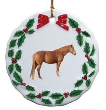 Barb Porcelain Holly Wreath Christmas Ornament