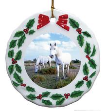 Camargue Porcelain Holly Wreath Christmas Ornament