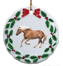 Haflinger Porcelain Holly Wreath Christmas Ornament