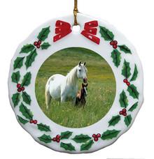 Horse Porcelain Holly Wreath Christmas Ornament