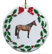 Oldenburg Porcelain Holly Wreath Christmas Ornament