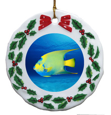Angelfish Porcelain Holly Wreath Christmas Ornament
