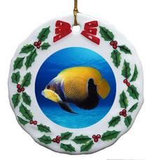 Blue Girdled Angelfish Porcelain Holly Wreath Christmas Ornament