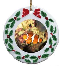 Clownfish Porcelain Holly Wreath Christmas Ornament