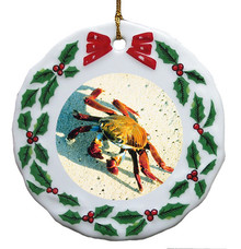 Crab Porcelain Holly Wreath Christmas Ornament