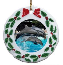 Dolphin Porcelain Holly Wreath Christmas Ornament