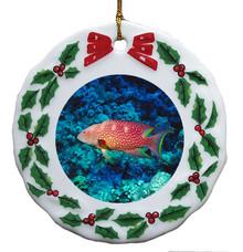 Grouper Porcelain Holly Wreath Christmas Ornament