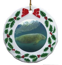 Manatee Porcelain Holly Wreath Christmas Ornament
