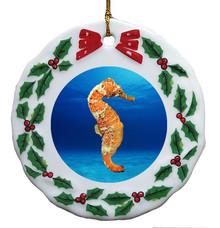 Seahorse Porcelain Holly Wreath Christmas Ornament