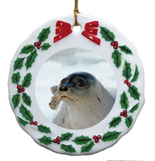 Seal Porcelain Holly Wreath Christmas Ornament
