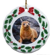 Sea Lion Porcelain Holly Wreath Christmas Ornament