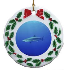 Shark Porcelain Holly Wreath Christmas Ornament