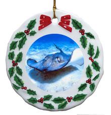 Stingray Porcelain Holly Wreath Christmas Ornament