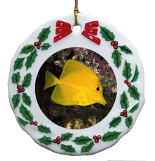 Yellow Tang Porcelain Holly Wreath Christmas Ornament