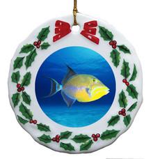 Triggerfish Porcelain Holly Wreath Christmas Ornament