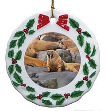 Walrus Porcelain Holly Wreath Christmas Ornament