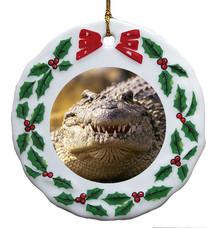 Alligator Porcelain Holly Wreath Christmas Ornament