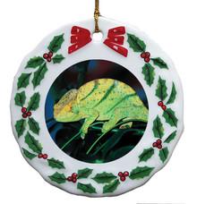 Chameleon Porcelain Holly Wreath Christmas Ornament