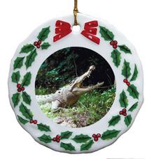 Crocodile Porcelain Holly Wreath Christmas Ornament