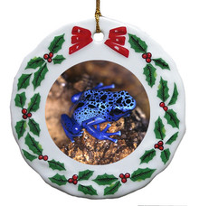 Blue Frog Porcelain Holly Wreath Christmas Ornament