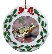 Green Frog Porcelain Holly Wreath Christmas Ornament