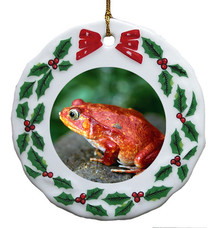 Tomato Frog Porcelain Holly Wreath Christmas Ornament