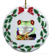 Tree Frog Porcelain Holly Wreath Christmas Ornament