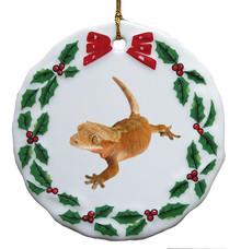 Gecko Porcelain Holly Wreath Christmas Ornament