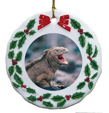 Iguana Porcelain Holly Wreath Christmas Ornament