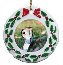 Cobra Snake Porcelain Holly Wreath Christmas Ornament