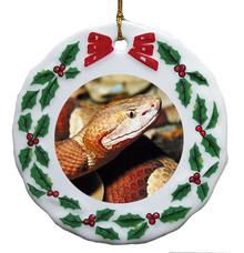 Copperhead Snake Porcelain Holly Wreath Christmas Ornament
