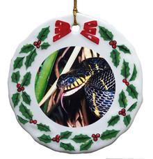 Mangrove Snake Porcelain Holly Wreath Christmas Ornament