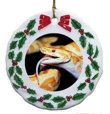 Python Snake Porcelain Holly Wreath Christmas Ornament