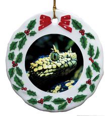 Viper Snake Porcelain Holly Wreath Christmas Ornament