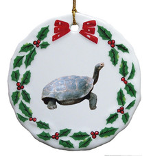 Turtle Porcelain Holly Wreath Christmas Ornament