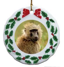 Baboon Porcelain Holly Wreath Christmas Ornament