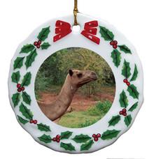 Camel Porcelain Holly Wreath Christmas Ornament
