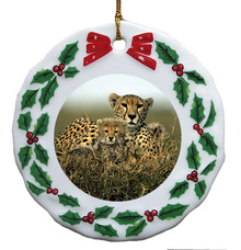 Cheetah Porcelain Holly Wreath Christmas Ornament