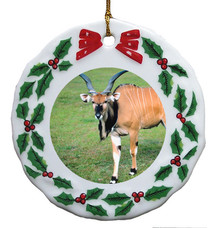 Eland Porcelain Holly Wreath Christmas Ornament