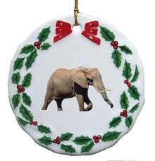 Elephant Porcelain Holly Wreath Christmas Ornament