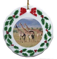 Giraffe Porcelain Holly Wreath Christmas Ornament
