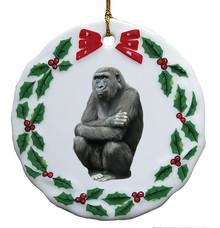 Gorilla Porcelain Holly Wreath Christmas Ornament